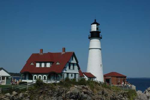 Maine Lighthouse Portland Maritime Navigation