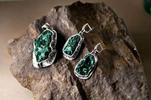 Malachite Silver Russia Jewelry Pendant Earrings