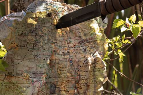 Map Treasure Knife Pinned Adventure Quest Old