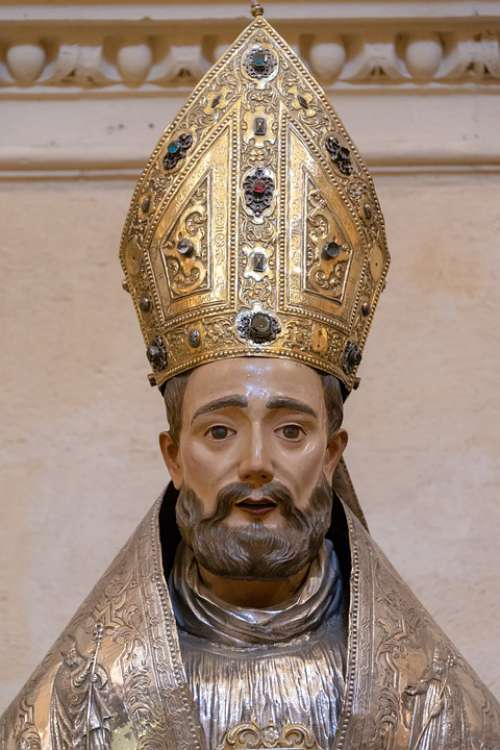 Medieval Statue Wooden Bishop Religion Christianity