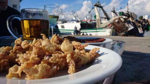Mediterranean Cuisine Squid Beer Fishermen