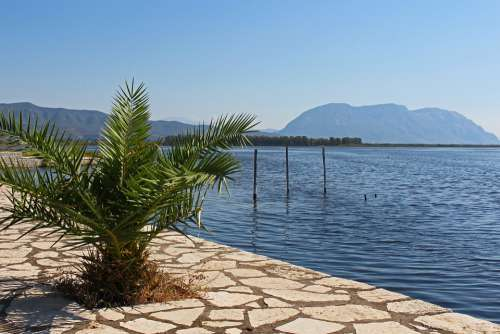 Messolonghi Greece View Panorama Reflection Sea