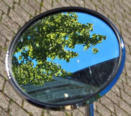 Mirror Vespa Summer Sky Tree Leaves Design
