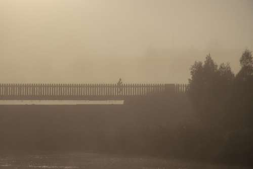 Misty Bridge Jogging Morning Early Exercise Water