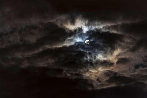 Moon City Clouds Night Sky Dark Orange Color