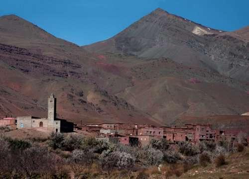Morocco Africa Atlas Village Mountains Mosque