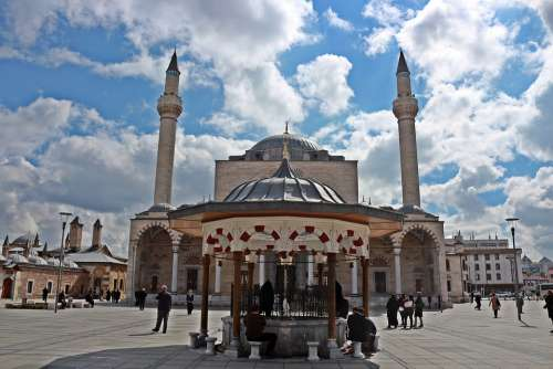 Mosque Konya Selimiye Maulana Square Fountain