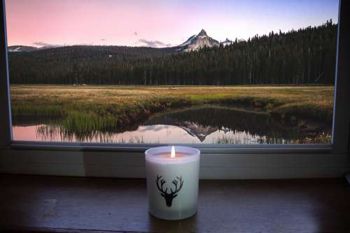 Mountain Candle Window Lake Pond Sky Peak Grass
