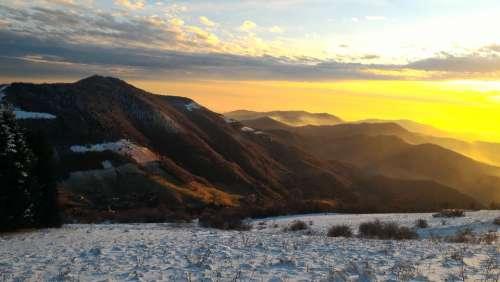 Mountain Landscape Sun Snow Snowy Nature Cold