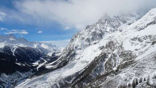 Mountain Snow Nature Glacier Panoramic Sky Ice