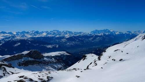 Mountains Snow Rocks Winter Landscape Mont Blanc