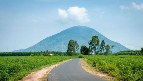 Mountains Road Landcape Tayninh Country Field