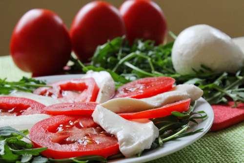 Mozzarella Italian Cuisine Snacks Tomato Arugula