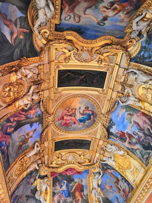 Museum Paris Art Ceiling Gold Colors Frescoes