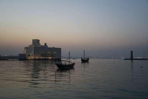 Museum Boat Doha Qatar Corniche Dusk Islamic