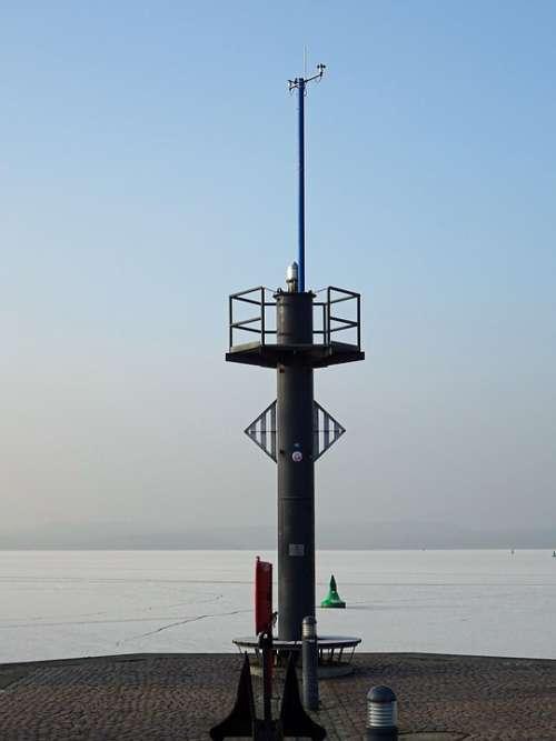 Neustrelitz Port Harbour Entrance Water Winter Ice