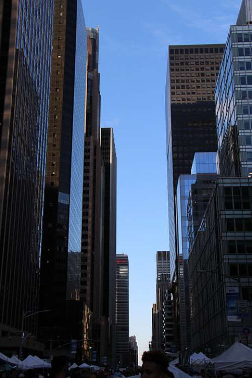 New York Skyscraper Street Canyon Tower Metropole