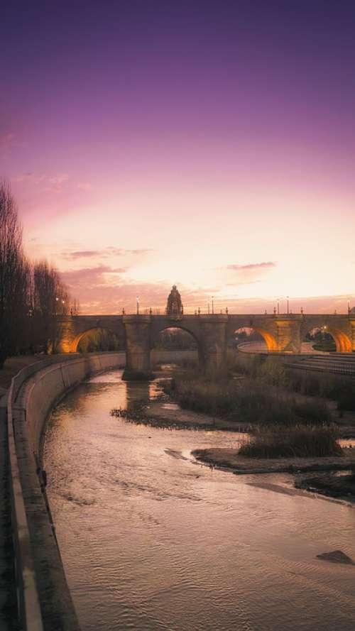 Night Purple Sky River Bridge Dawn