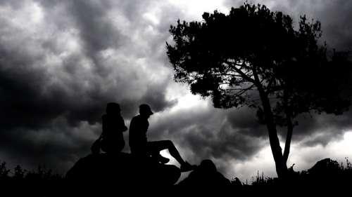 Night Couple Romance Love Silhouette Romantic Set