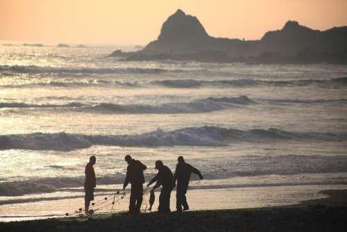 Ocean Sea Fishermen Fishing