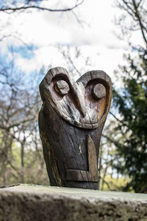 Owl Plastic Art Sculpture Statue Wood