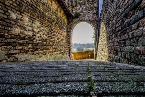 Paving Stones Cobblestones Away Wall City Wall