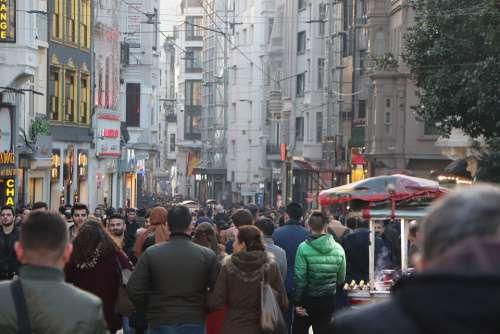People The Crowd Taksim Istiklal Street Istanbul