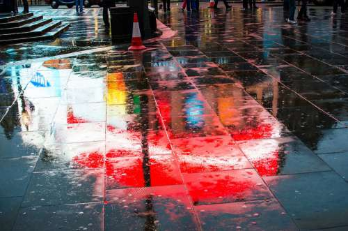 Piccadilly Circus London Night Wet Patch Landmark