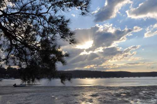 Pittwater Twilight Silver Clouds Water