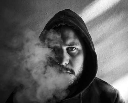 Portrait Smoke Man Young Model Smoking Cigarettes