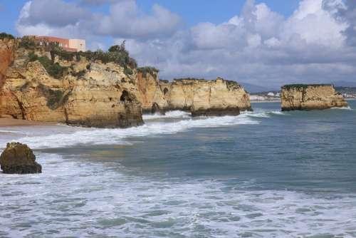 Portugal Algarve Beach Coast Sea Water Wave