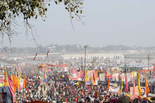 Pragraj Kumbh Crowd People India Culture Portrait