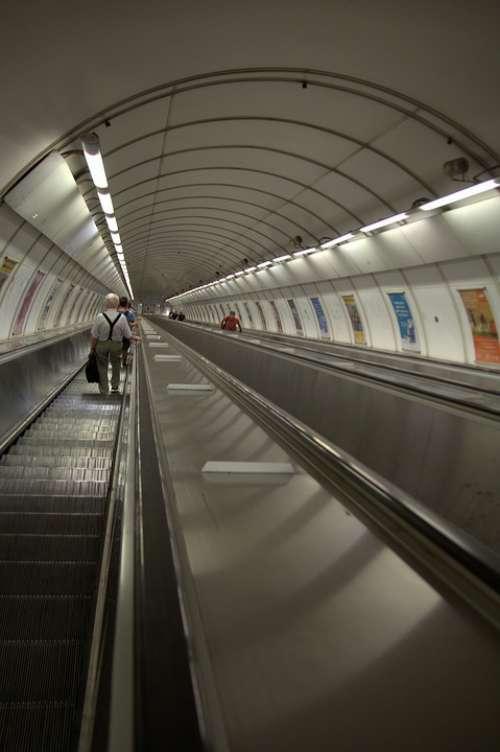 Prague Metro Escalator Urban Railway Station