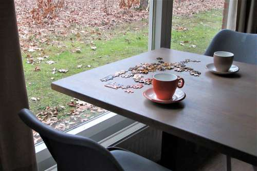 Puzzling Together Coffee Tea Cups Window Hobby