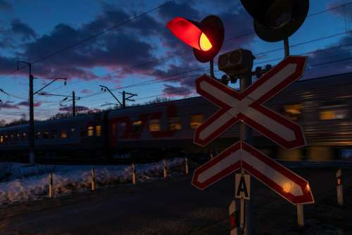 Railway Railway Crossing Traffic Road Closed Red