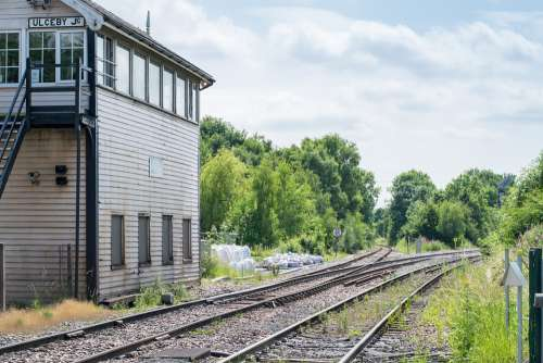 Railway Signalbox Train Rails Rail Tracks