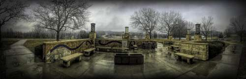 Rest Stop Panorama Grunge Benches Rainy