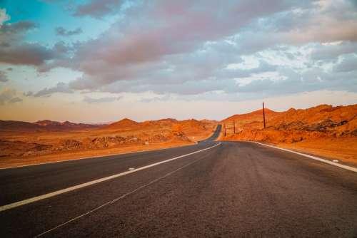 Road Sunset Desert Landscape Away Nature Sky