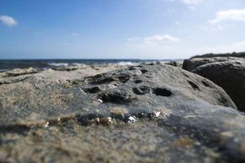 Rock Rocks Water Sea Costa Beach Clouds