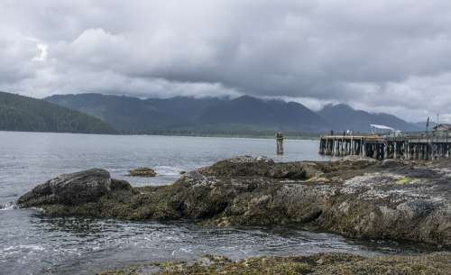 Rocks Wind Pier Sea Clouds British Columbia