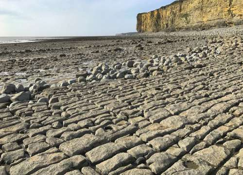 Rocks Cliffs Pavement Beach Sea Pebbles Nature