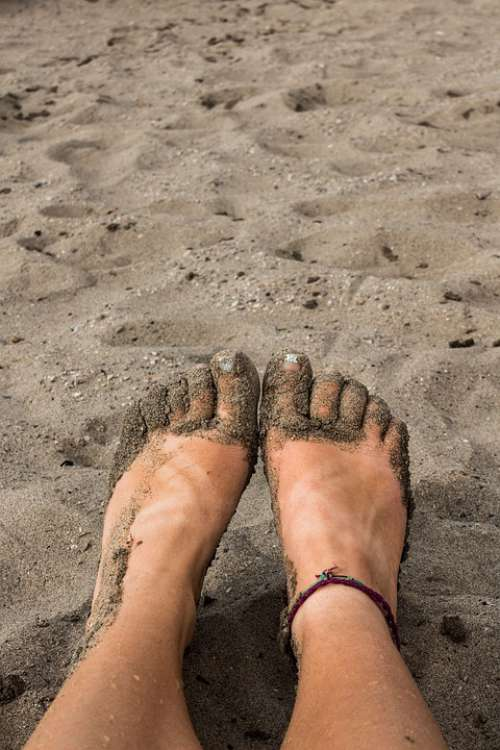 Sandy Feet Beach Sand Toes Female Woman Sunny
