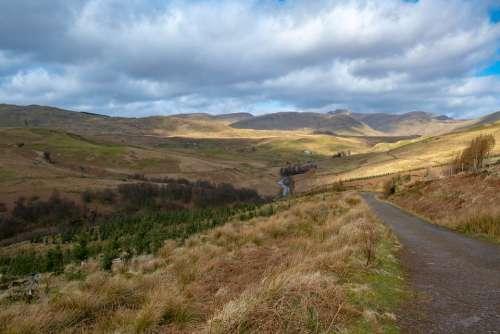 Scotland Hills Landscape Nature Highlands Clouds