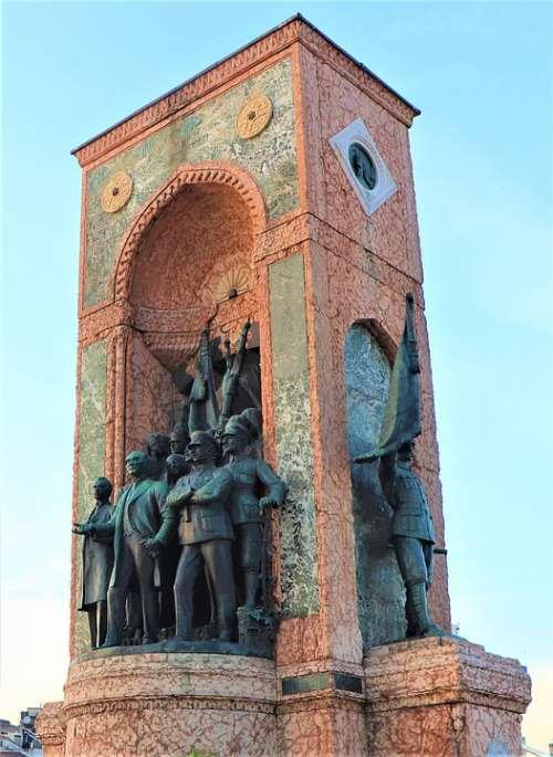 Sculpture Monument Taksim Square Soldier Art
