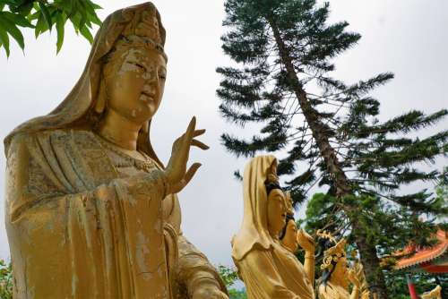 Sculpture Gold Buddha Art Statue