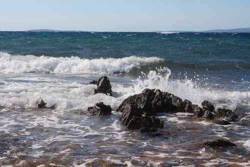 Sea Wave Stones Spray Croatia Vacations