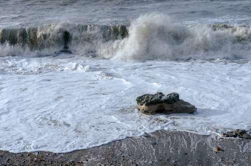 Sea Wave Scum Rock Ocean Nature Beach