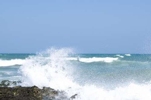Sea Waves Rocks Storm Wind Nature Sand Italy