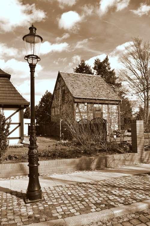 Sepia Lantern Street City Past Poznan History