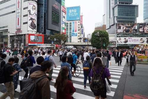 Shibuya Crossing Busy Crossing Crowds Tourist Tokyo